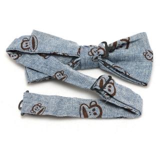 Серый галстук бабочка с принтом обезьяны