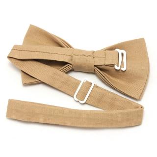 Однотонная дизайнерская галстук бабочка бежевого цвета