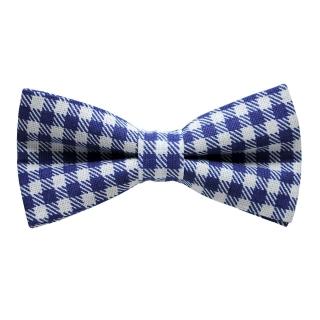 Клетчатая сине-белая галстук бабочка хендмейд