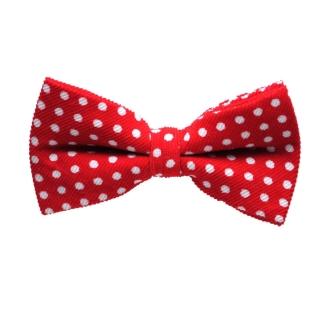 Ярко-красная галстук бабочка пполькадот
