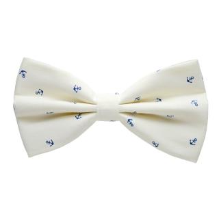 Бежевая галстук-бабочка с якорями