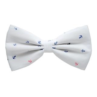 Купить белую галстук-бабочку с якорями