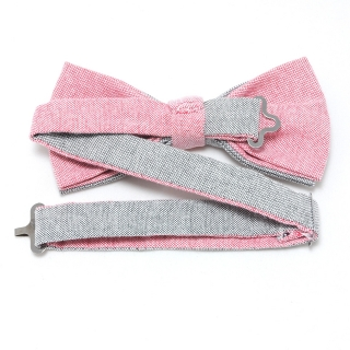 Хлопковая галстук-бабочка серо-розовая