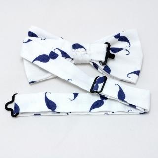 Купить белую галстук бабочку с усами