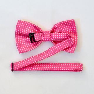 Розовая галстук бабочка на застежке в горошек