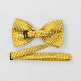 Горчичный галстук бабочка на застежке в горошек