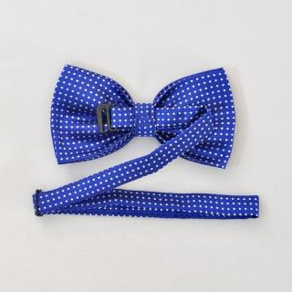 Синий галстук бабочка на застежке в горошек
