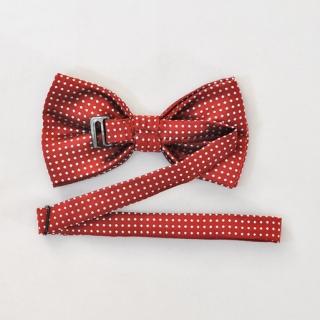Бордовый галстук бабочка на застежке в горошек