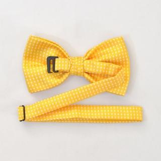 Желтый галстук бабочка на застежке в горошек