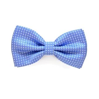 голубая галстук бабочка в горошек