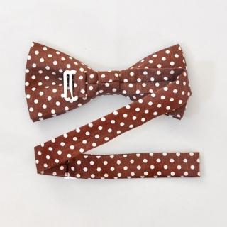 Коричневая галстук-бабочка в белый горошек