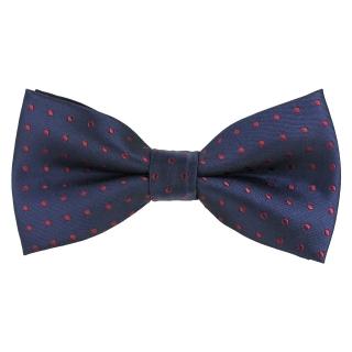 Темно синий галстук бабочка в горошек