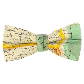 Светлый галстук-бабочка с картой