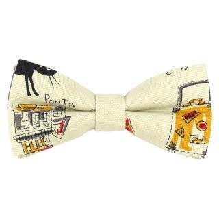 Купить светлый галстук-бабочку с принтом