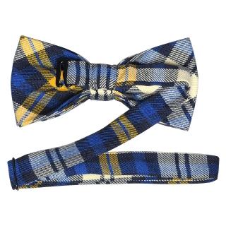Синий клетчатый галстук-бабочка из хлопка