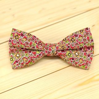 Недорогая цветочная галстук-бабочка на застежке с яркими вставками.