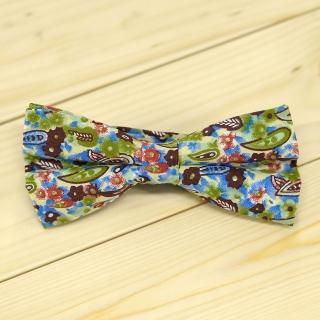 Недорогая цветочная стильная алстук-бабочка с цветными вставками