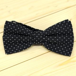 Хлопковый галстук-бабочка черный в точку