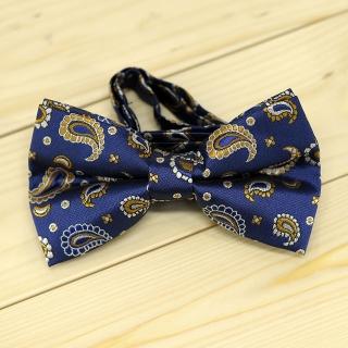 Модная галстук-бабочка синего цвета из плотной хлопковой ткани с узором в виде огурцов