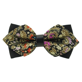 Купить модную галстук-бабочку черного цвета из плотной хлопковой ткани с узором в виде огурцов