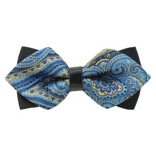 Купить модную галстук-бабочку черного цвета из плотной хлопковой ткани с узором в виде огурцов.