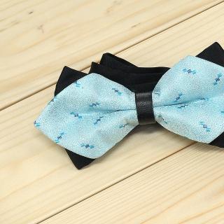 Недорогая модная галстук-бабочка гоулбого цвета из плотной хлопковой ткани