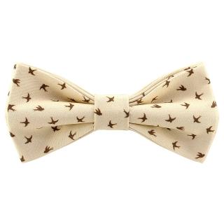 Бежевй галстук-бабочка с ласточками
