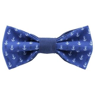 Морской синий галстук-бабочка с якорями