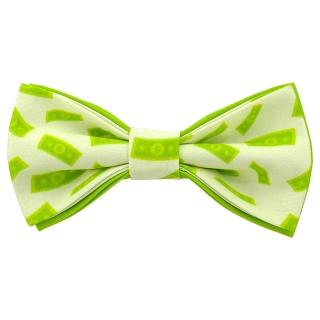 Зеленый галстук-бабочка с деньгами