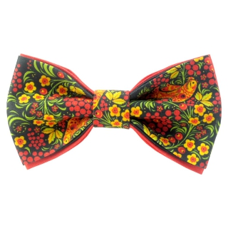 Черная дизайнерская галстук-бабочка хохлома