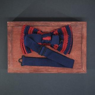 Купить вязаный бордовый галстук-бабочку