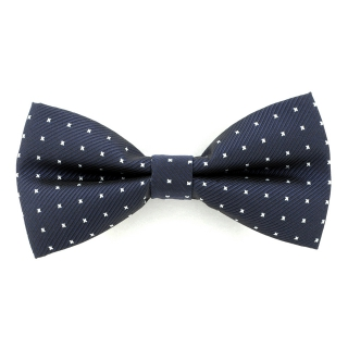 Купить синий галстук-бабочку в белую точку