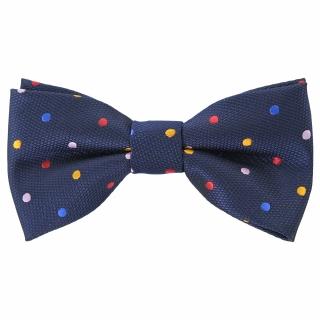 Купить детскую  галстук-бабочку темно-синего цвета в цветной горошек