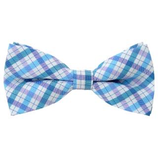 Купить детскую галстук-бабочку голубого цвета с принтом клетка