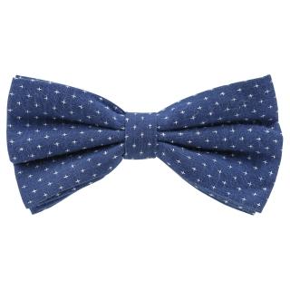 Купить синий галстук-бабочку с крестиками