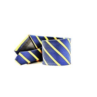 Мужской галстук синего цвета в желтую полоску
