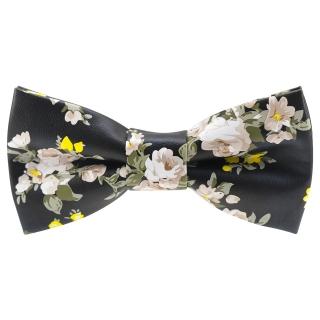 Купить черную кожаную галстук-бабочку с цветами