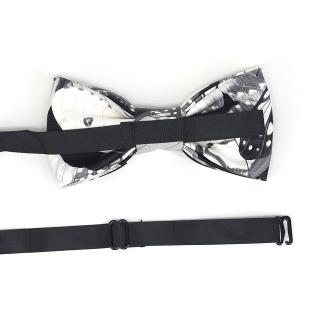 Черно-белый галстук-бабочка из кожи