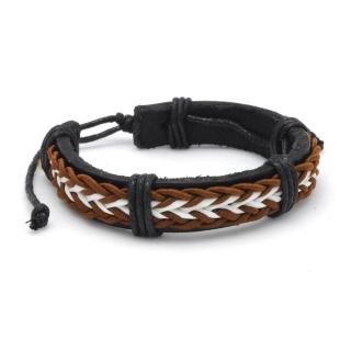 Кожаный браслет с коричневым плетением