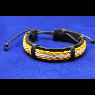 Кожаный желтый браслет с плетением