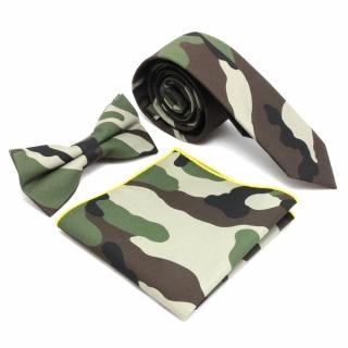 Набор из камуфляжных галстука бабочки и платка