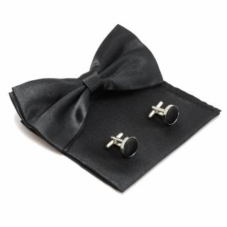 Черный набор из платка, бабочки и запонок.