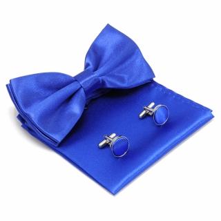 Синий набор бабочка, платок и запонки