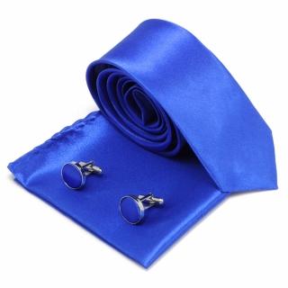 Синий галстук запонки и платок в наборе