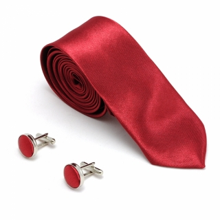 Бордовый набор из галстука и запонок