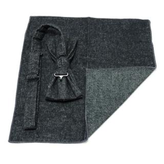 Черный шерстяной набор из галстука-бабочки и платка