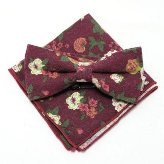 Бордовый набор бабочка-платок с цветочной окраской
