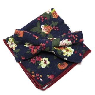 Купить темно-синий набор бабочки с платком цветочные