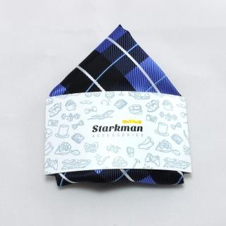 Купить клетчатый синий платок в карман пиджака
