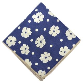 Нагрудный платок синего цвета с принтом